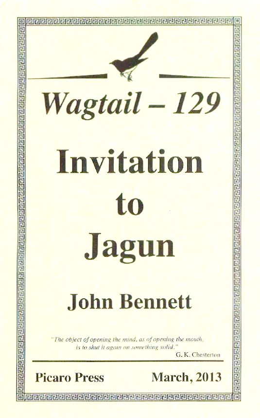 'Invitation to Jagun', Wagtail, March 2013, Chap book