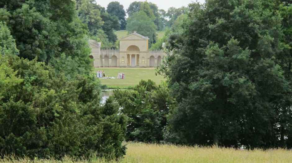 Stowe , Temple of Friendship with period dresses