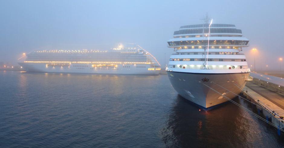 cruise ships, foggy morning