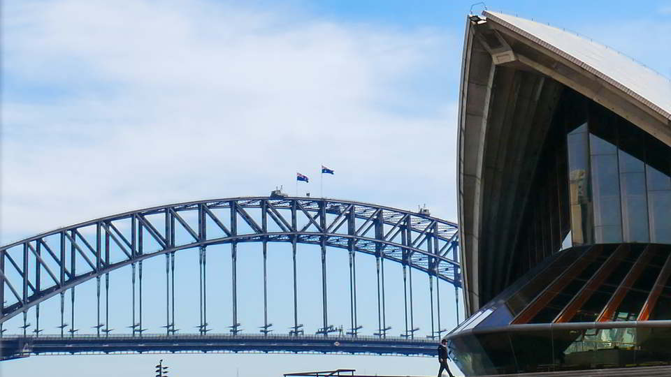 Opera House and Harbour Bridge opposite my favourite wall