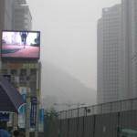 Seoul jogging, smog, fog and rain