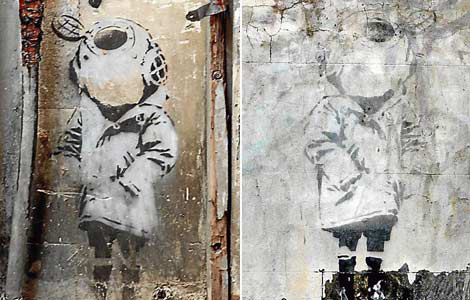 Banksy child diver Alfalfa wall Enmore