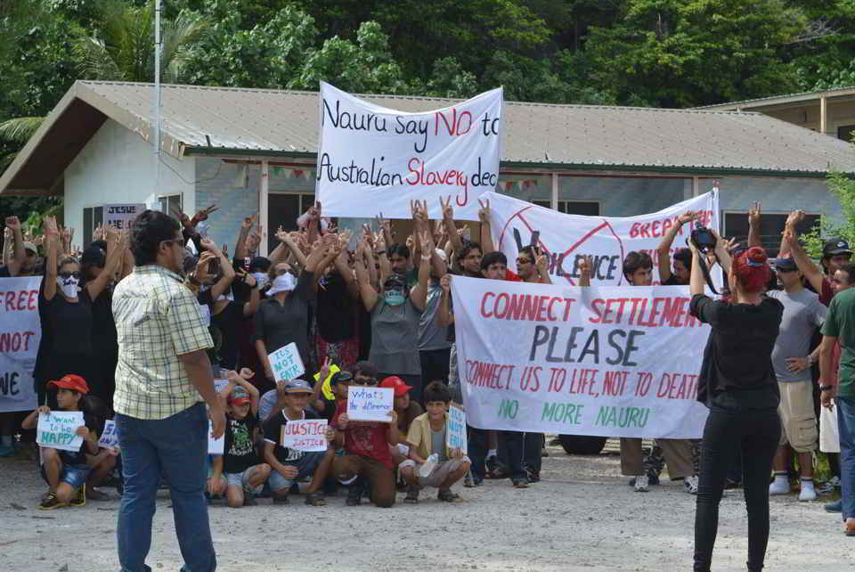 Refugees protest on Nauru, ABC, March 2015